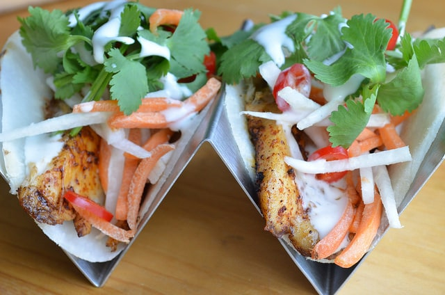 jicama tacos in holder - front
